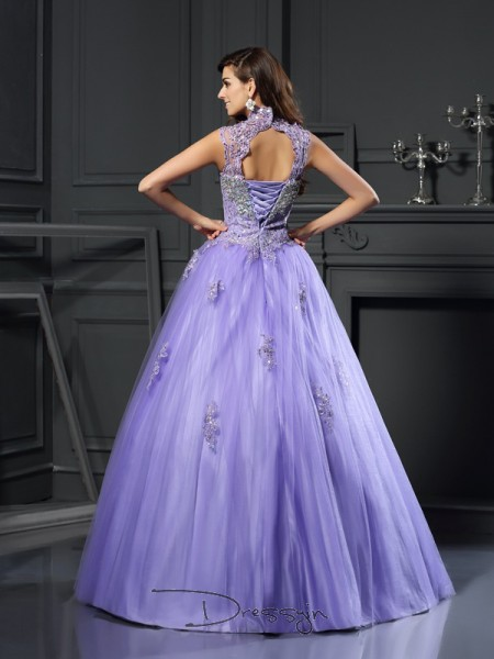 Ball Gown Sleeveless High Neck Beading Applique Net Long Dresses