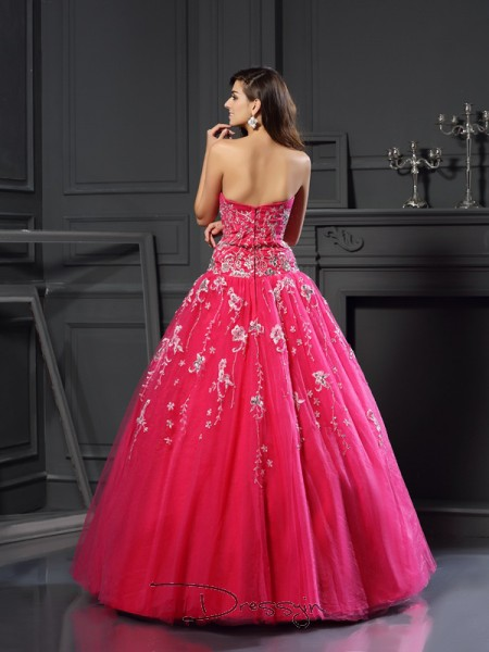 Ball Gown Sleeveless Sweetheart Applique Net Long Dresses