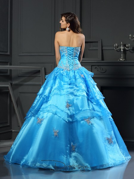 Ball Gown Sleeveless Sweetheart Beading Organza Long Dresses