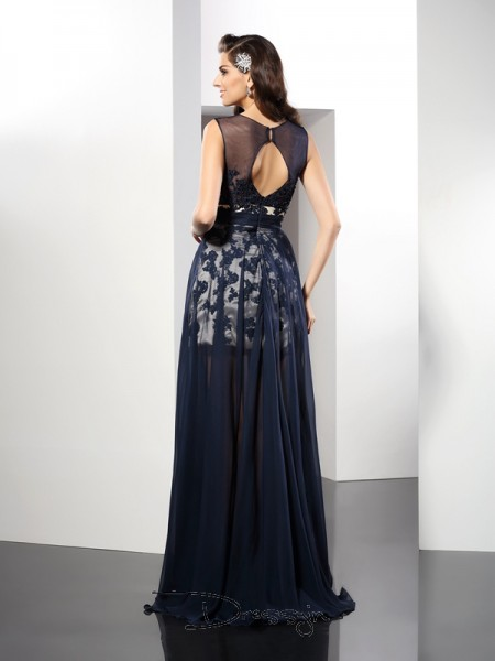 A-Line/Princess Sleeveless Scoop Other Elastic Woven Satin Long Dresses