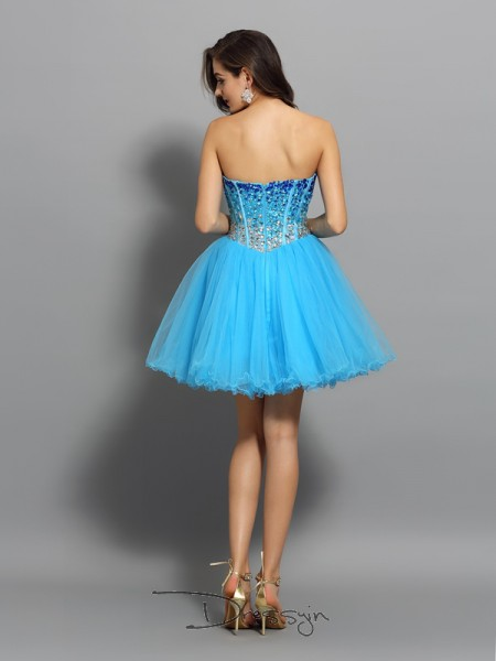 A-Line/Princess Sleeveless Sweetheart Ruffles Satin Short Dresses