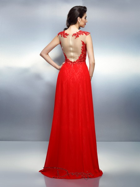 A-Line/Princess Sleeveless Bateau Applique Net Long Dresses