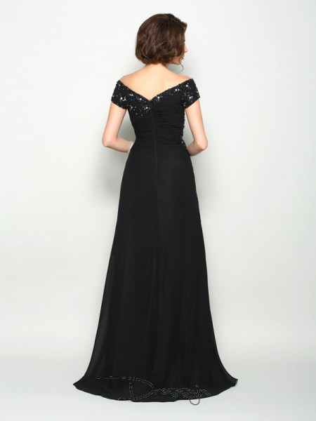 A-Line/Princess Short Sleeves Off-the-Shoulder Beading Applique Chiffon Long Mother of the Bride Dresses