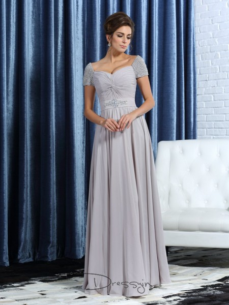 A-Line/Princess Short Sleeves Sweetheart Beading Chiffon Ankle-Length Mother of the Bride Dresses