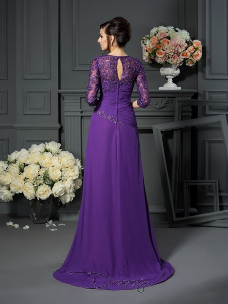 A-Line/Princess 1/2 Sleeves Sweetheart Applique Chiffon Long Mother of the Bride Dresses
