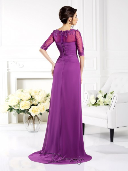 Sheath/Column 1/2 Sleeves Scoop Applique Chiffon Long Dresses
