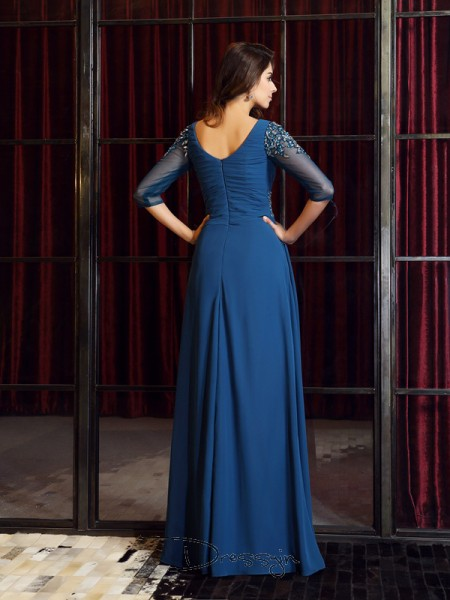 A-Line/Princess 1/2 Sleeves Square Ruched Chiffon Long Dresses