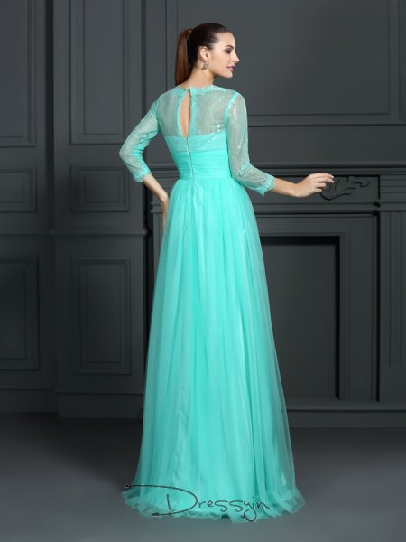 A-Line/Princess Elastic Woven Satin Bateau 3/4 Sleeves Lace Long Dresses