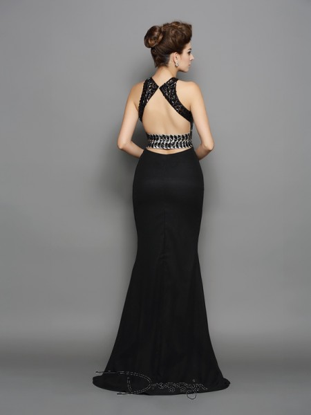 Trumpet/Mermaid Chiffon High Neck Sleeveless Long Dresses