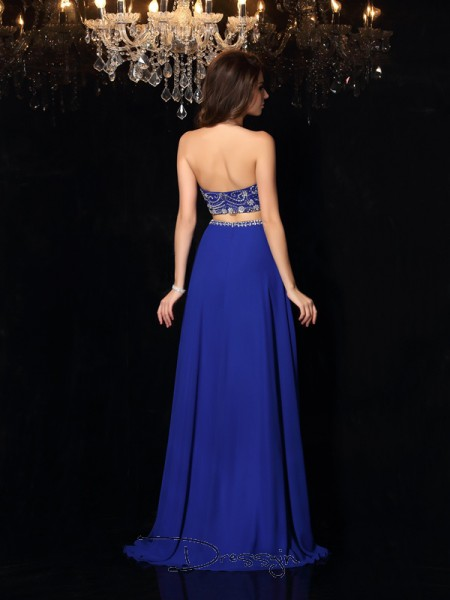 A-Line/Princess Chiffon High Neck Sleeveless Beading Long Dresses