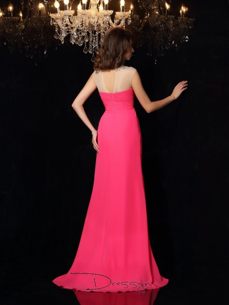 A-Line/Princess Chiffon High Neck Sleeveless Ruched Long Dresses