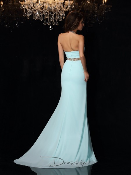 Sheath/Column Chiffon High Neck Sleeveless Beading Long Dresses