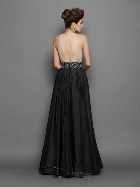 A-Line/Princess Taffeta High Neck Sleeveless Sequin Long Dresses