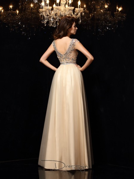 A-Line/Princess Net Scoop Sleeveless Beading Long Dresses