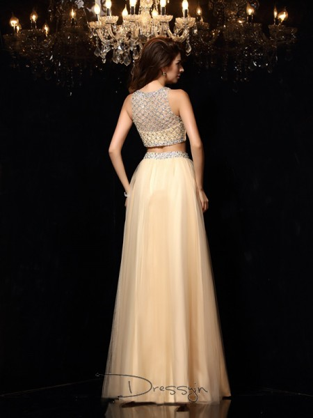 A-Line/Princess Net High Neck Sleeveless Beading Long Dresses