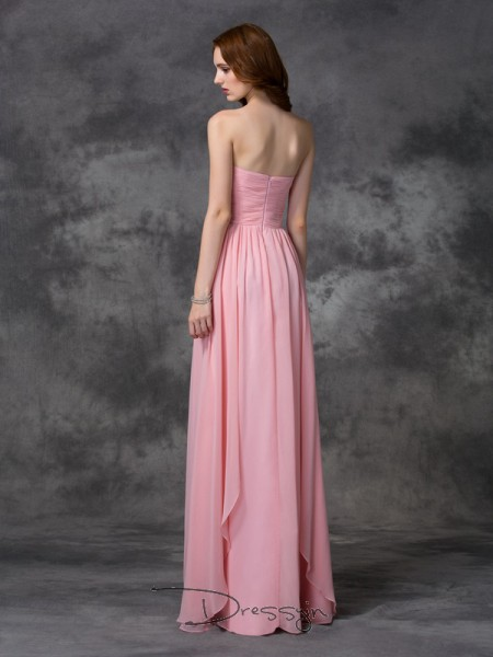 A-Line/Princess Chiffon Sweetheart Sleeveless Ruffles Long Bridesmaid Dresses