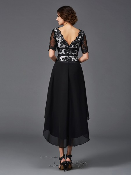 A-Line/Princess Chiffon V-neck 1/2 Sleeves Lace High Low Dresses