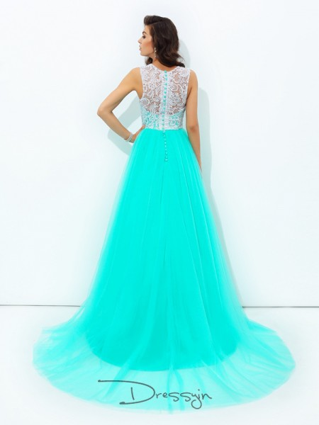 A-Line/Princess Net Scoop Sleeveless Lace Long Dresses