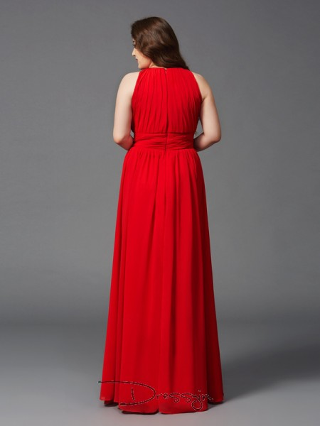 A-Line/Princess Chiffon Jewel Sleeveless Ruched Long Plus Size Dresses