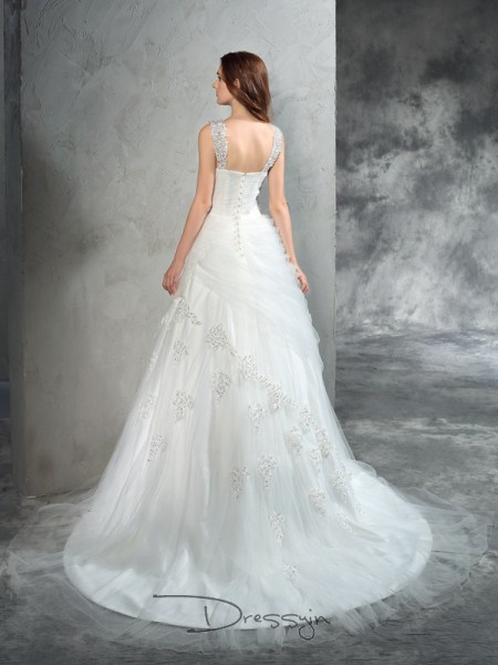 Ball Gown Net Straps Sleeveless Applique Court Train Wedding Dresses