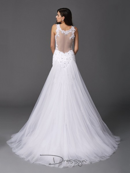 Trumpet/Mermaid Net Straps Sleeveless Beading Long Wedding Dresses