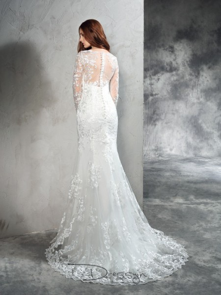 Sheath/Column Net Sheer Neck Long Sleeves Lace Long Wedding Dresses