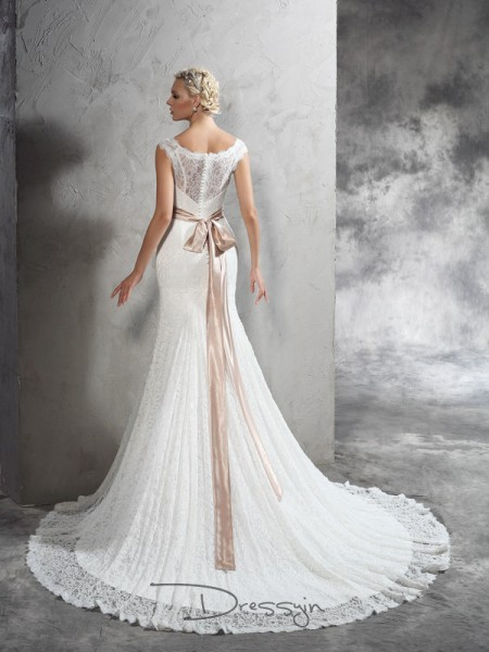 Sheath/Column Lace Sheer Neck Sleeveless Sash/Ribbon/Belt Court Train Wedding Dresses