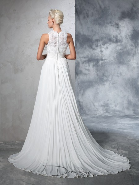 A-Line/Princess Chiffon High Neck Sleeveless Pleats Court Train Wedding Dresses
