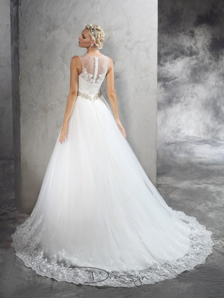 A-Line/Princess Net Sheer Neck Sleeveless Beading Court Train Wedding Dresses