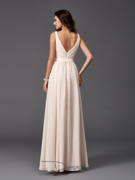 A-Line/Princess Chiffon Straps Sleeveless Sash/Ribbon/Belt Long Bridesmaid Dresses