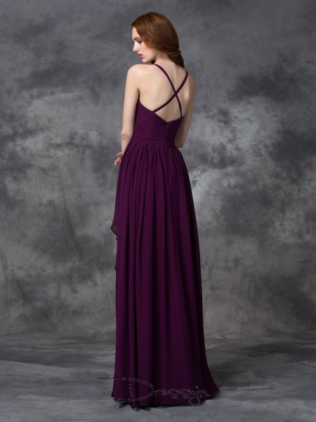 A-Line/Princess Chiffon Spaghetti Straps Sleeveless Ruffles Long Bridesmaid Dresses