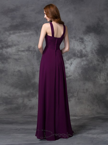 A-Line/Princess Chiffon Straps Sleeveless Ruched Long Bridesmaid Dresses