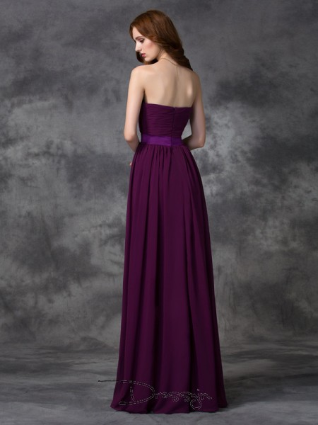 A-Line/Princess Chiffon Sweetheart Sleeveless Ruched Long Bridesmaid Dresses