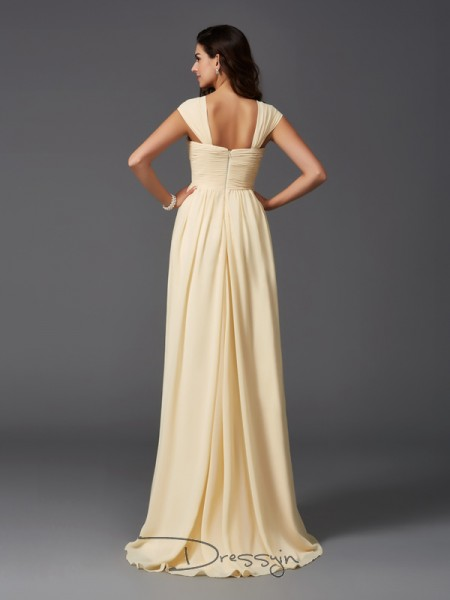 A-Line/Princess Chiffon Straps Sleeveless Ruffles Long Bridesmaid Dresses