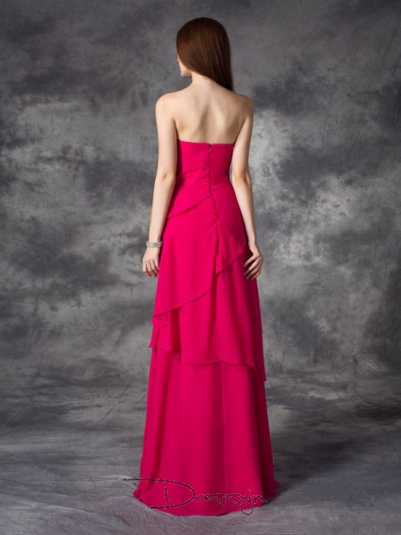 A-Line/Princess Chiffon Sweetheart Sleeveless Layers Long Bridesmaid Dresses