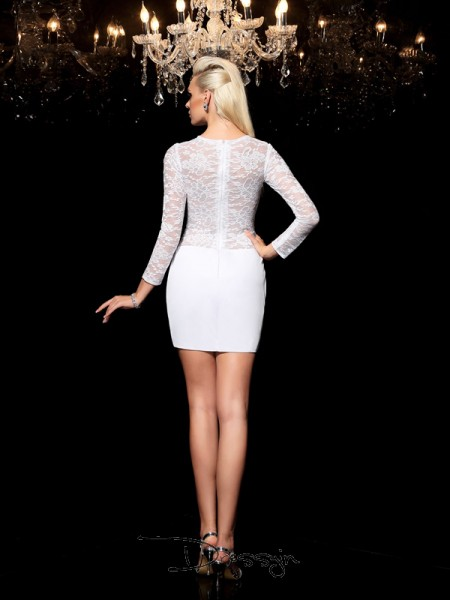 Sheath/Column Elastic Woven Satin Scoop Long Sleeves Lace Short Dresses