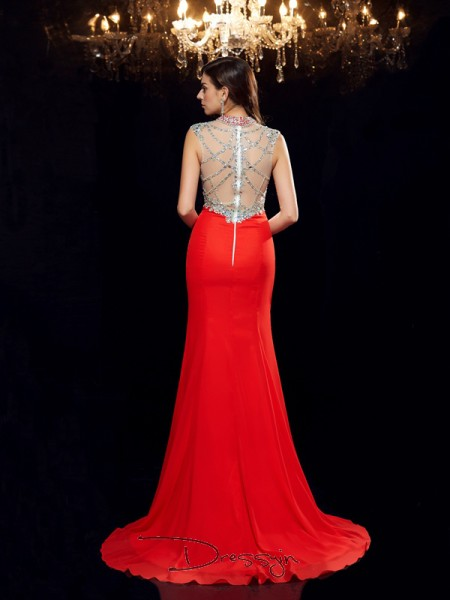 Trumpet/Mermaid Chiffon Scoop Sleeveless Beading Long Dresses