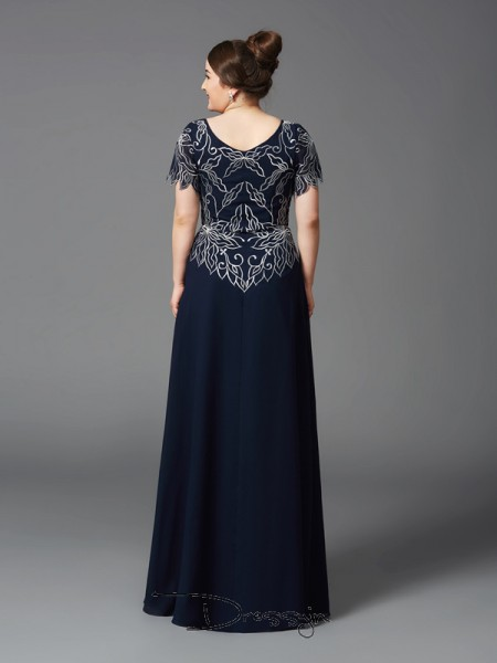 A-Line/Princess Chiffon Square Short Sleeves Long Mother of the Bride Plus Size Dresses