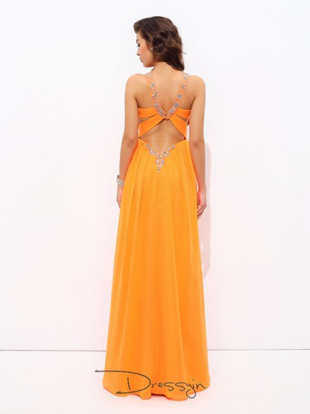 A-Line/Princess Chiffon V-neck Sleeveless Rhinestone Long Dresses