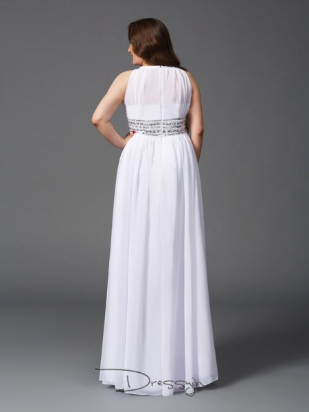 A-Line/Princess Chiffon Jewel Sleeveless Beading Long Plus Size Dresses