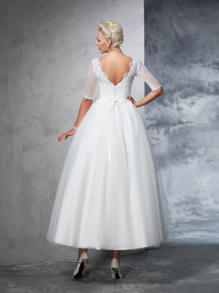 Ball Gown Net Bateau 1/2 Sleeves Lace Ankle-Length Wedding Dresses
