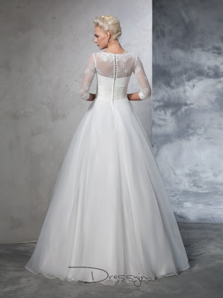 Ball Gown Organza Jewel 3/4 Sleeves Applique Long Wedding Dresses