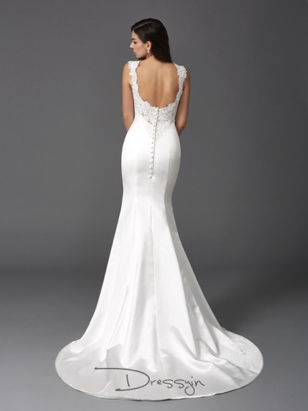Trumpet/Mermaid Satin Straps Sleeveless Beading Long Wedding Dresses