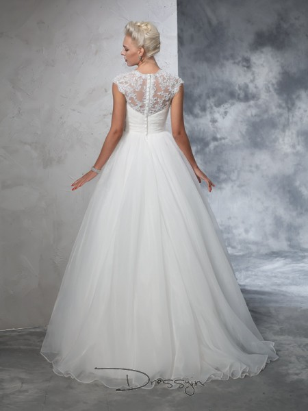 Ball Gown Tulle Sweetheart Sleeveless Ruched Long Wedding Dresses