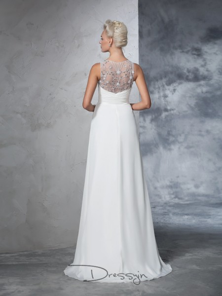A-Line/Princess Chiffon V-neck Sleeveless Ruched Long Wedding Dresses