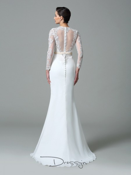 Trumpet/Mermaid Satin Jewel Long Sleeves Lace Long Wedding Dresses
