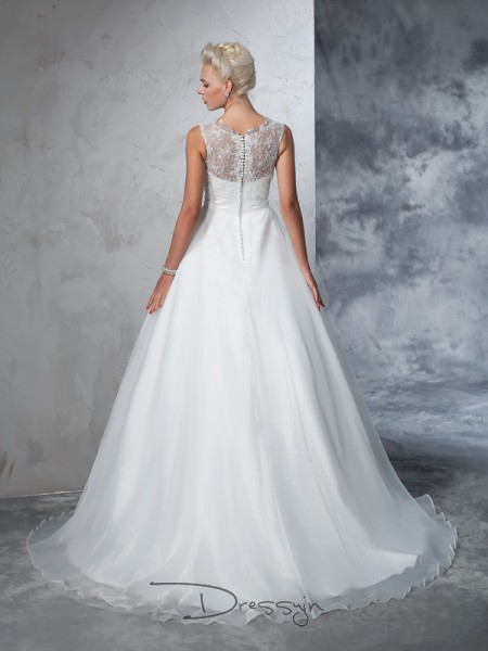 Ball Gown Net Sheer Neck Sleeveless Lace Chapel Train Wedding Dresses