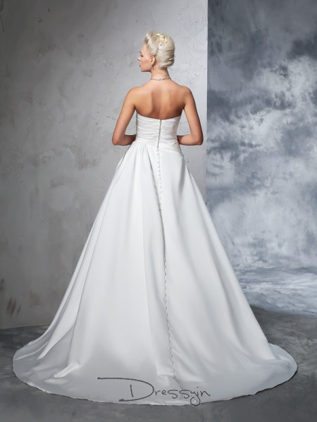 Ball Gown Satin Strapless Sleeveless Ruched Chapel Train Wedding Dresses