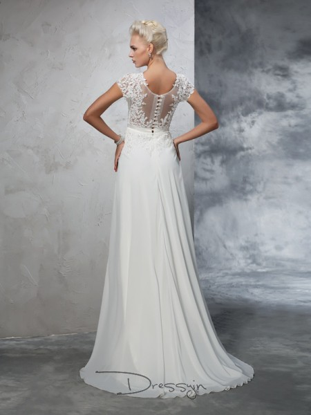 A-Line/Princess Chiffon Sheer Neck Short Sleeves Applique Long Wedding Dresses