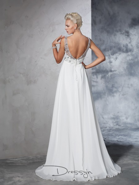 A-Line/Princess Chiffon V-neck Sleeveless Beading Long Wedding Dresses